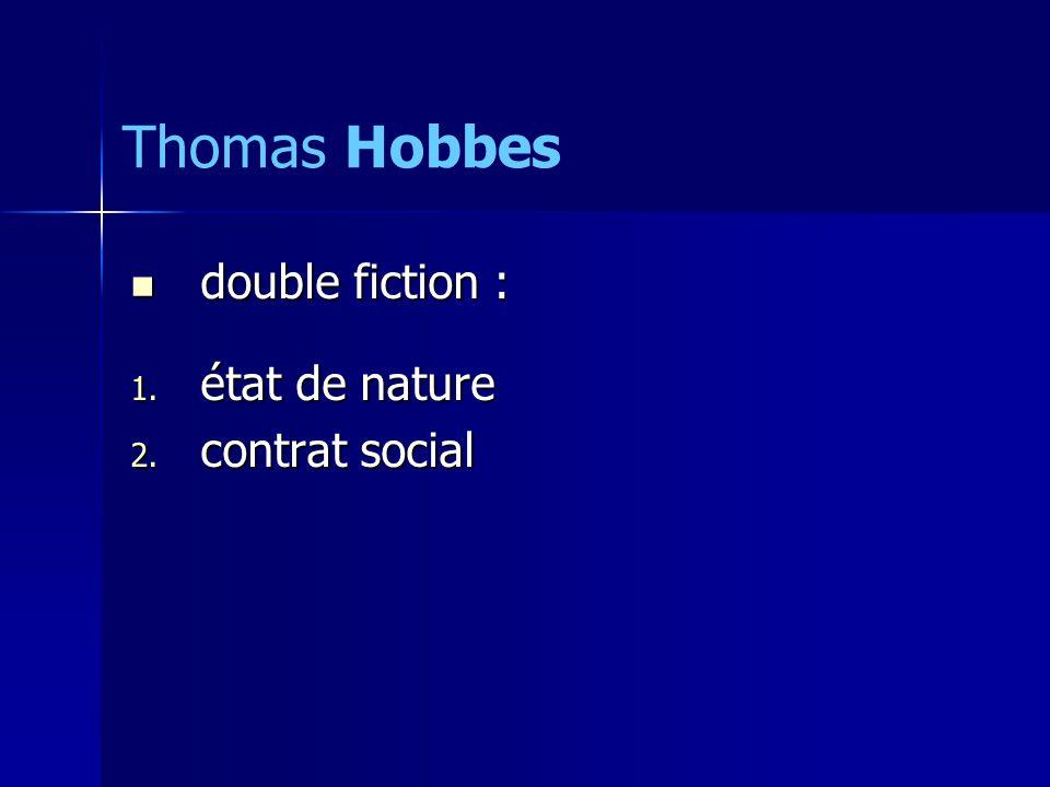 double fiction : double fiction : 1. état de nature 2. contrat social Thomas Hobbes