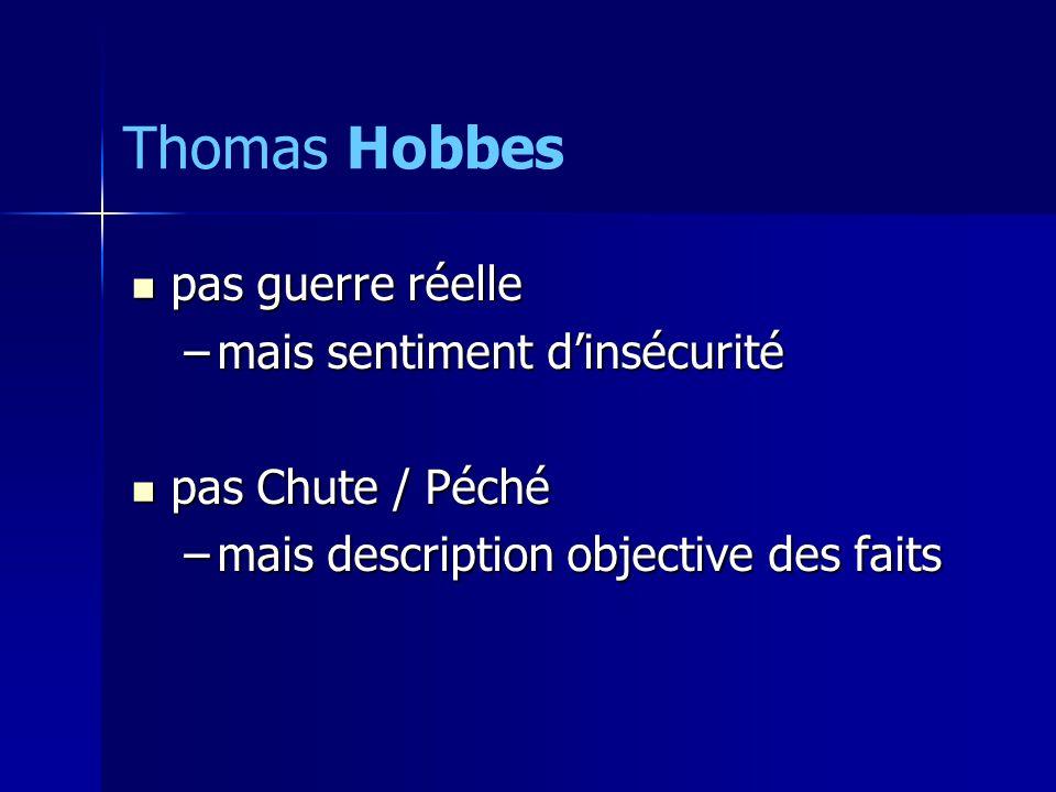 pas guerre réelle pas guerre réelle –mais sentiment dinsécurité pas Chute / Péché pas Chute / Péché –mais description objective des faits Thomas Hobbes