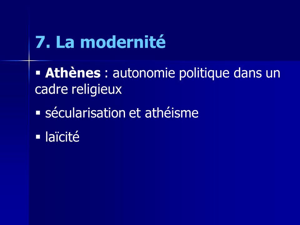 7. La modernité Athènes : autonomie politique dans un cadre religieux sécularisation et athéisme laïcité