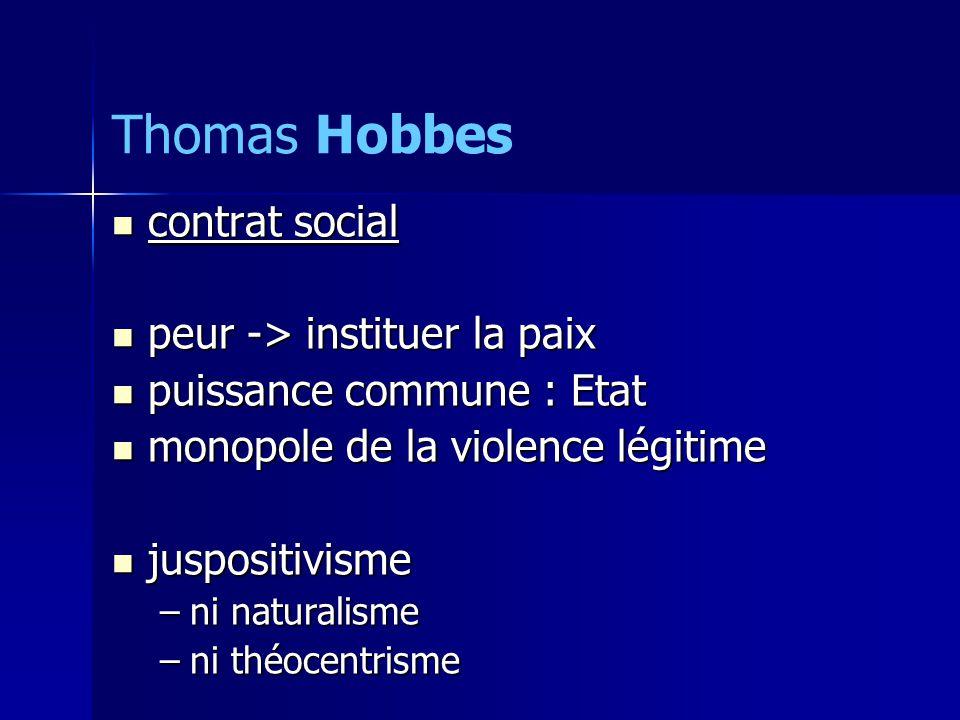 contrat social contrat social peur -> instituer la paix peur -> instituer la paix puissance commune : Etat puissance commune : Etat monopole de la violence légitime monopole de la violence légitime juspositivisme juspositivisme –ni naturalisme –ni théocentrisme Thomas Hobbes