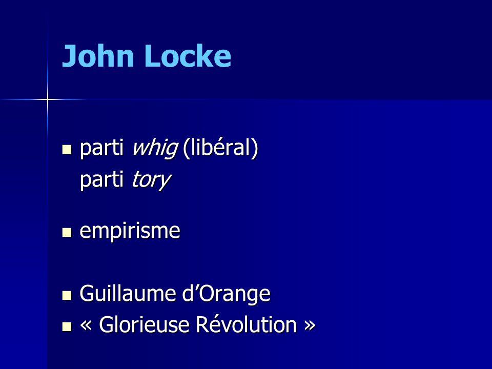 parti whig (libéral) parti whig (libéral) parti tory empirisme empirisme Guillaume dOrange Guillaume dOrange « Glorieuse Révolution » « Glorieuse Révolution » John Locke