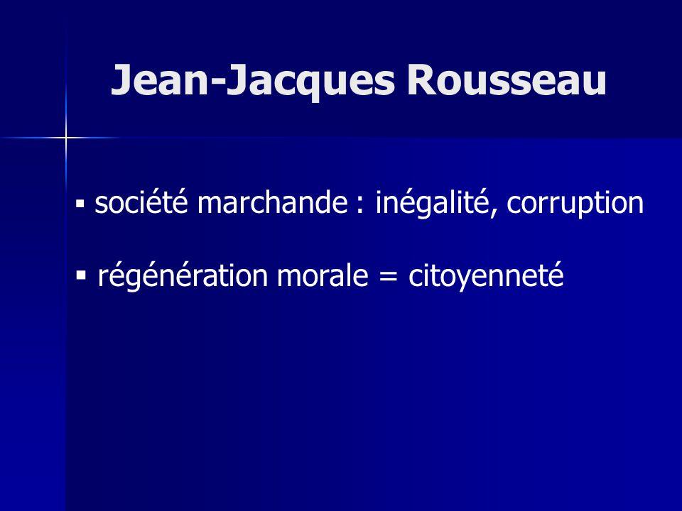 société marchande : inégalité, corruption régénération morale = citoyenneté Jean-Jacques Rousseau