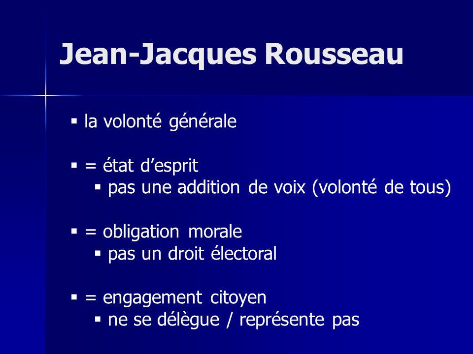 la volonté générale = état desprit pas une addition de voix (volonté de tous) = obligation morale pas un droit électoral = engagement citoyen ne se délègue / représente pas Jean-Jacques Rousseau