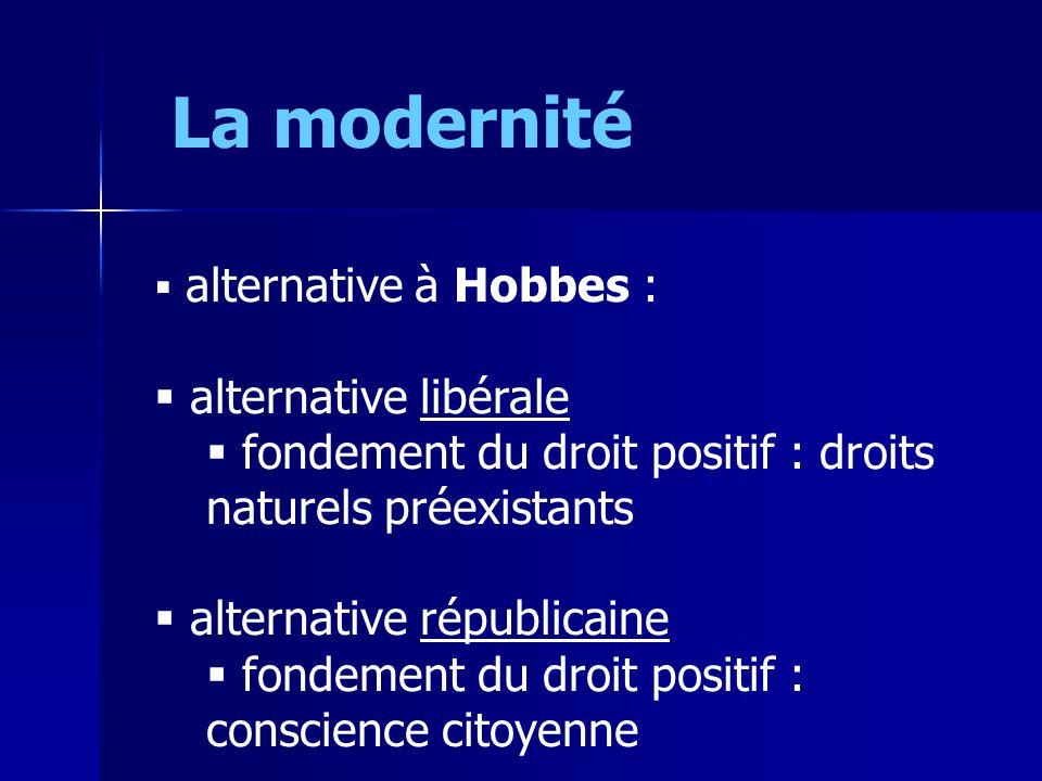 La modernité alternative à Hobbes : alternative libérale fondement du droit positif : droits naturels préexistants alternative républicaine fondement du droit positif : conscience citoyenne