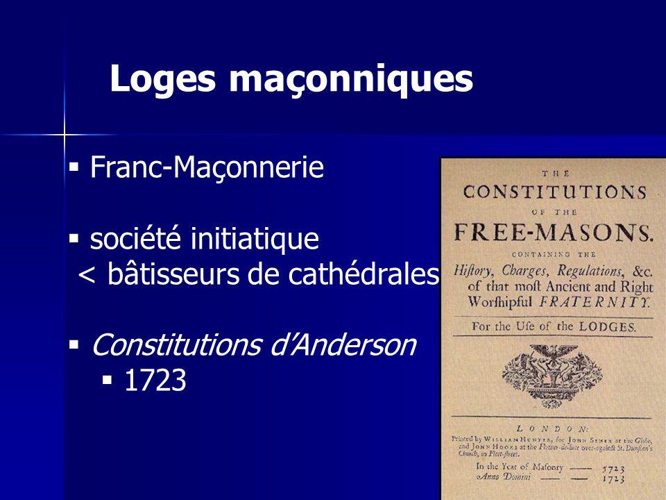 Franc-Maçonnerie société initiatique < bâtisseurs de cathédrales Constitutions dAnderson 1723 Loges maçonniques