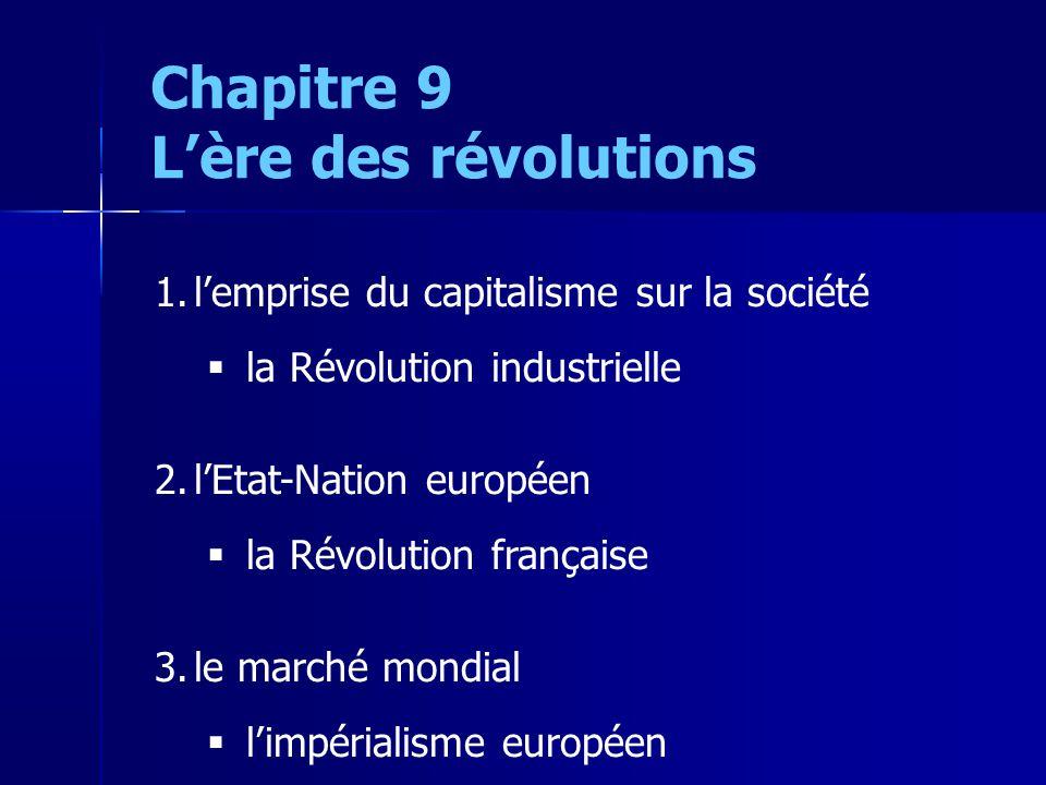Chapitre 9 Lère des révolutions 1.lemprise du capitalisme sur la société la Révolution industrielle 2.lEtat-Nation européen la Révolution française 3.le marché mondial limpérialisme européen