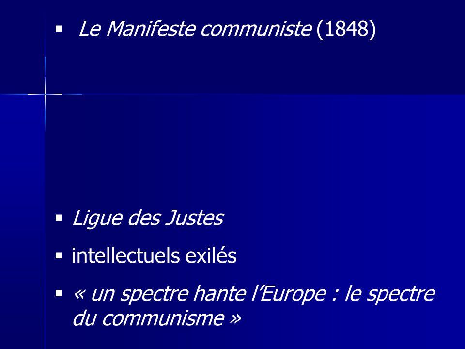 Le Manifeste communiste (1848) Ligue des Justes intellectuels exilés « un spectre hante lEurope : le spectre du communisme »