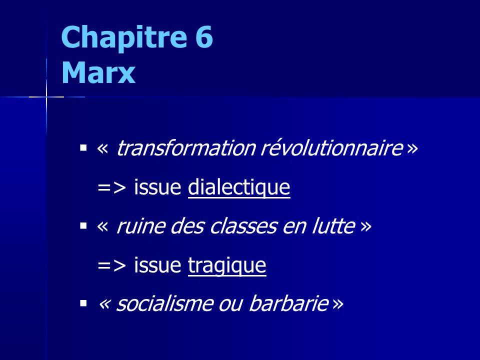 « transformation révolutionnaire » => issue dialectique « ruine des classes en lutte » => issue tragique « socialisme ou barbarie » Chapitre 6 Marx