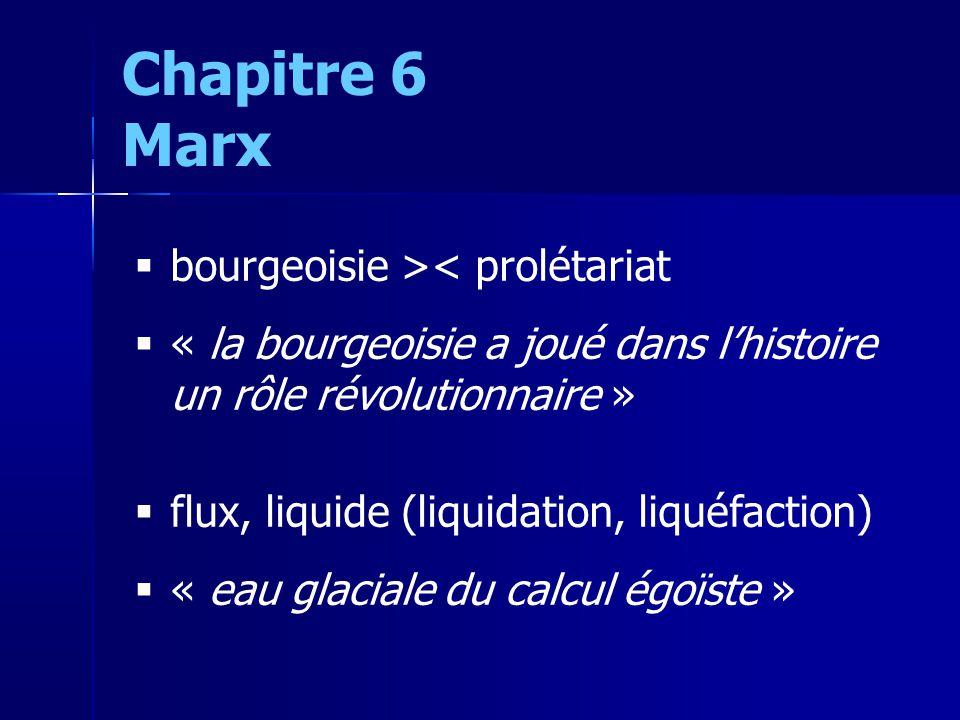 bourgeoisie >< prolétariat « la bourgeoisie a joué dans lhistoire un rôle révolutionnaire » flux, liquide (liquidation, liquéfaction) « eau glaciale du calcul égoïste » Chapitre 6 Marx