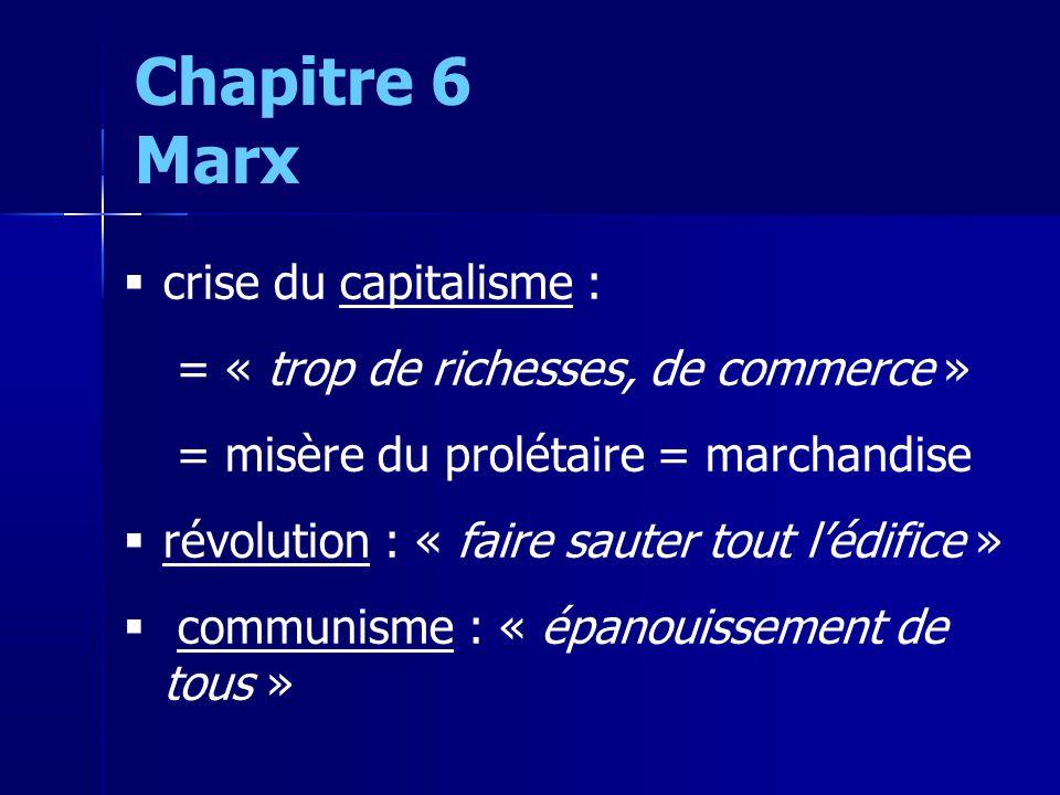 crise du capitalisme : = « trop de richesses, de commerce » = misère du prolétaire = marchandise révolution : « faire sauter tout lédifice » communisme : « épanouissement de tous » Chapitre 6 Marx