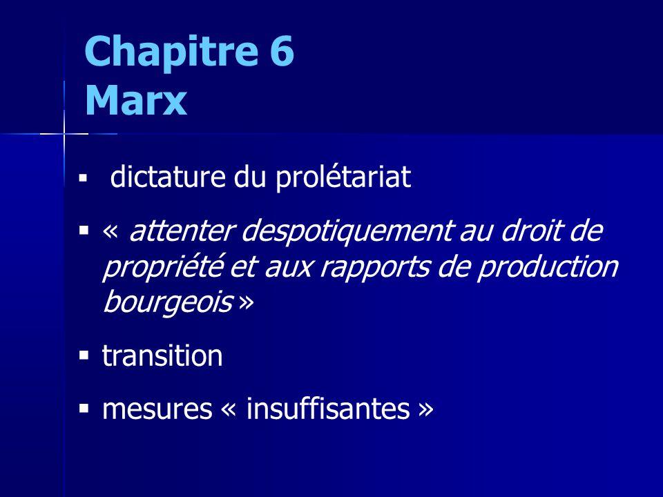 dictature du prolétariat « attenter despotiquement au droit de propriété et aux rapports de production bourgeois » transition mesures « insuffisantes » Chapitre 6 Marx
