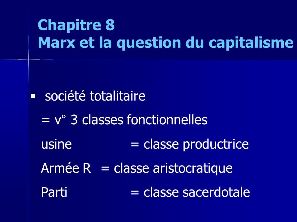 société totalitaire = v° 3 classes fonctionnelles usine = classe productrice Armée R = classe aristocratique Parti = classe sacerdotale Chapitre 8 Marx et la question du capitalisme