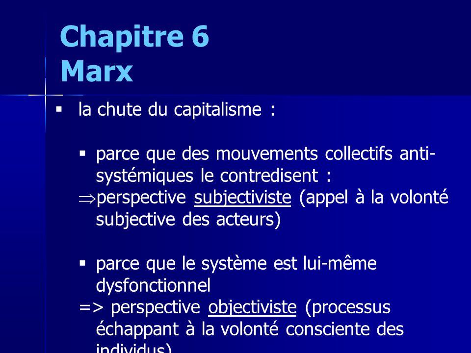 la chute du capitalisme : parce que des mouvements collectifs anti- systémiques le contredisent : perspective subjectiviste (appel à la volonté subjective des acteurs) parce que le système est lui-même dysfonctionnel => perspective objectiviste (processus échappant à la volonté consciente des individus) Chapitre 6 Marx