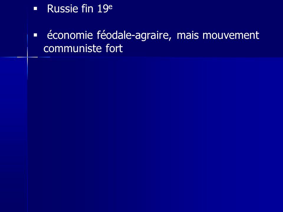 Russie fin 19 e économie féodale-agraire, mais mouvement communiste fort
