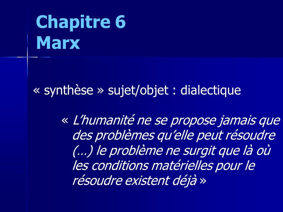 « synthèse » sujet/objet : dialectique « Lhumanité ne se propose jamais que des problèmes quelle peut résoudre (…) le problème ne surgit que là où les conditions matérielles pour le résoudre existent déjà » Chapitre 6 Marx