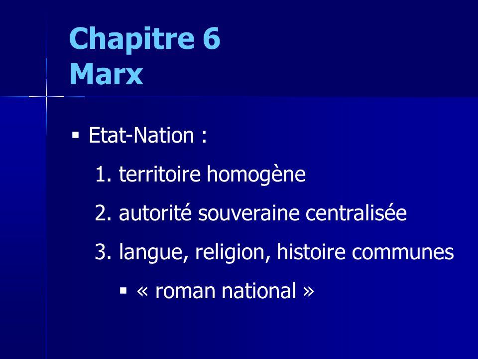 Chapitre 6 Marx Etat-Nation : 1. territoire homogène 2.