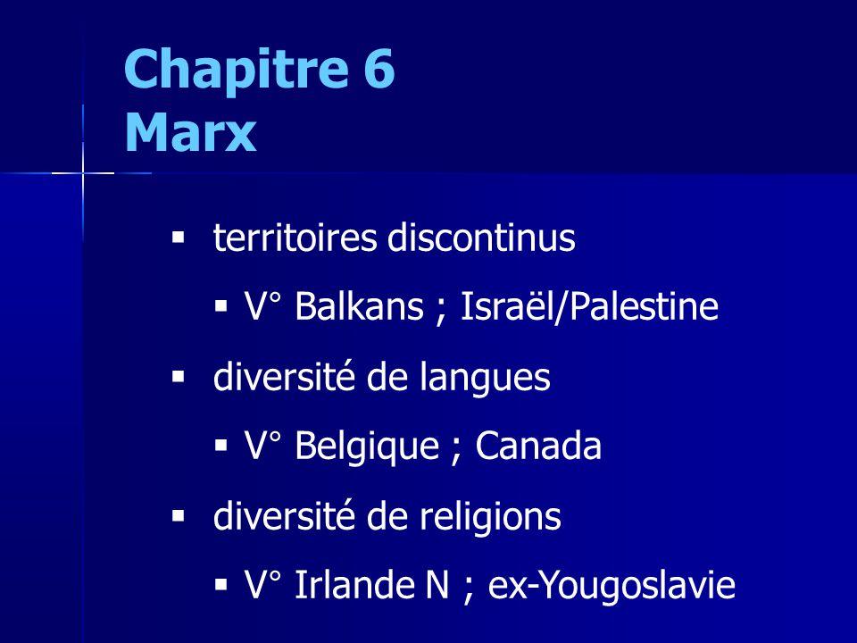 Chapitre 6 Marx territoires discontinus V° Balkans ; Israël/Palestine diversité de langues V° Belgique ; Canada diversité de religions V° Irlande N ; ex-Yougoslavie