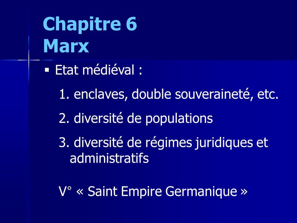 Chapitre 6 Marx Etat médiéval : 1. enclaves, double souveraineté, etc.