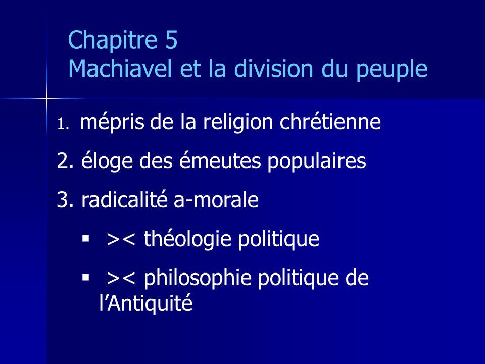 1. mépris de la religion chrétienne 2. éloge des émeutes populaires 3. radicalité a-morale >< théologie politique >< philosophie politique de lAntiqui