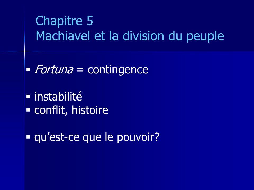 Fortuna = contingence instabilité conflit, histoire quest-ce que le pouvoir? Chapitre 5 Machiavel et la division du peuple