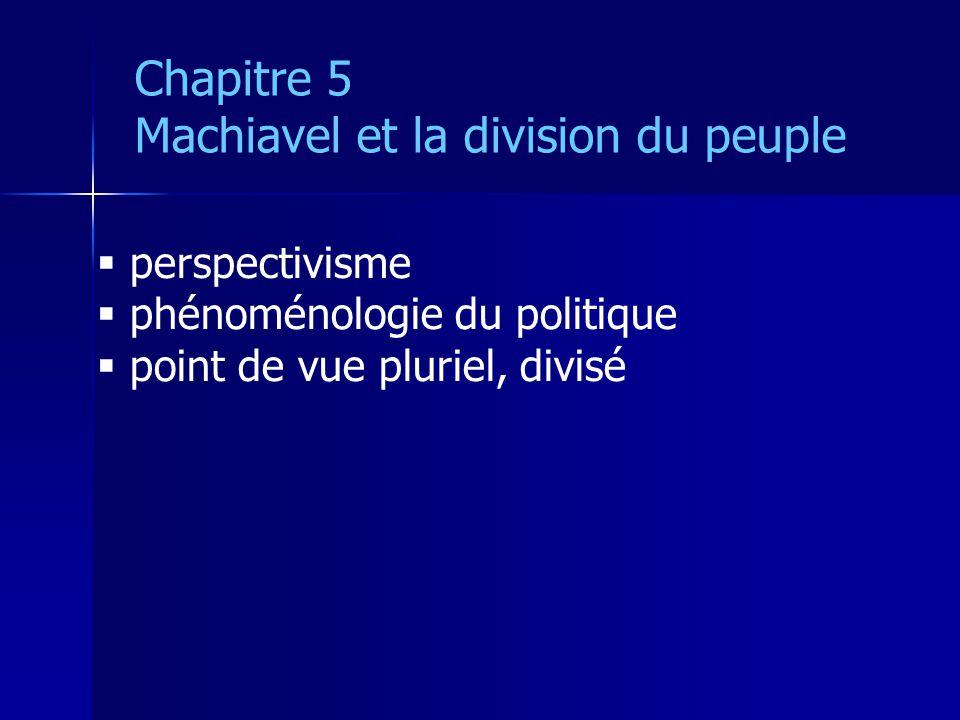 perspectivisme phénoménologie du politique point de vue pluriel, divisé Chapitre 5 Machiavel et la division du peuple