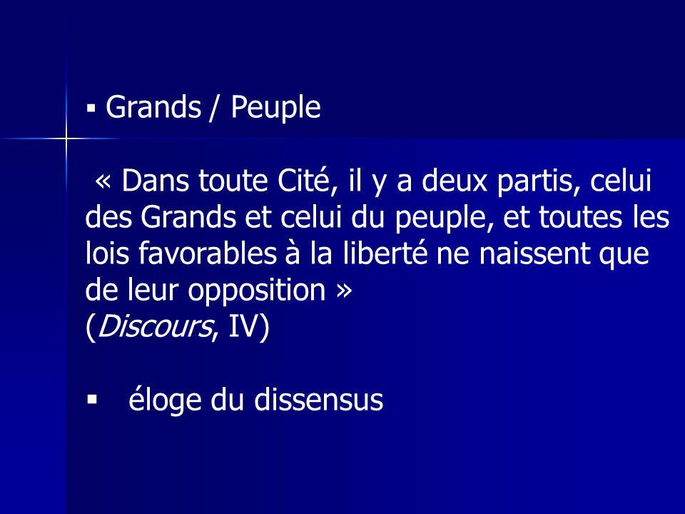Grands / Peuple « Dans toute Cité, il y a deux partis, celui des Grands et celui du peuple, et toutes les lois favorables à la liberté ne naissent que de leur opposition » (Discours, IV) éloge du dissensus