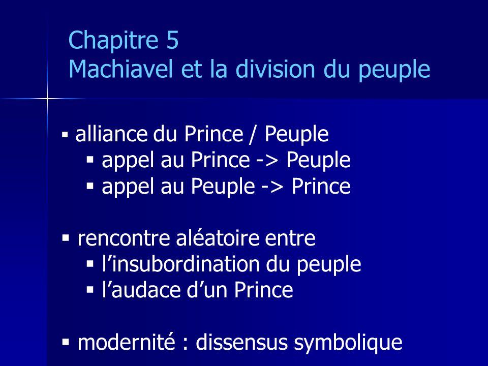 alliance du Prince / Peuple appel au Prince -> Peuple appel au Peuple -> Prince rencontre aléatoire entre linsubordination du peuple laudace dun Prince modernité : dissensus symbolique Chapitre 5 Machiavel et la division du peuple