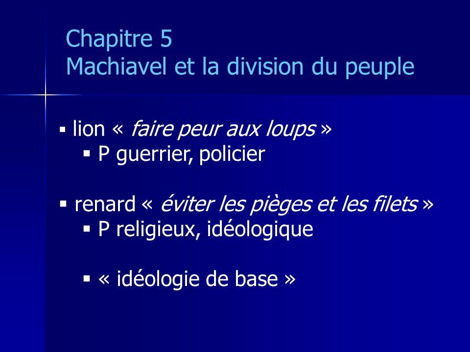 lion « faire peur aux loups » P guerrier, policier renard « éviter les pièges et les filets » P religieux, idéologique « idéologie de base » Chapitre 5 Machiavel et la division du peuple
