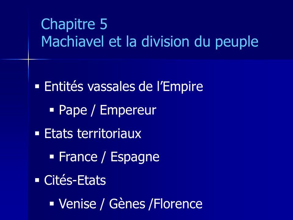 Entités vassales de lEmpire Pape / Empereur Etats territoriaux France / Espagne Cités-Etats Venise / Gènes /Florence Chapitre 5 Machiavel et la divisi