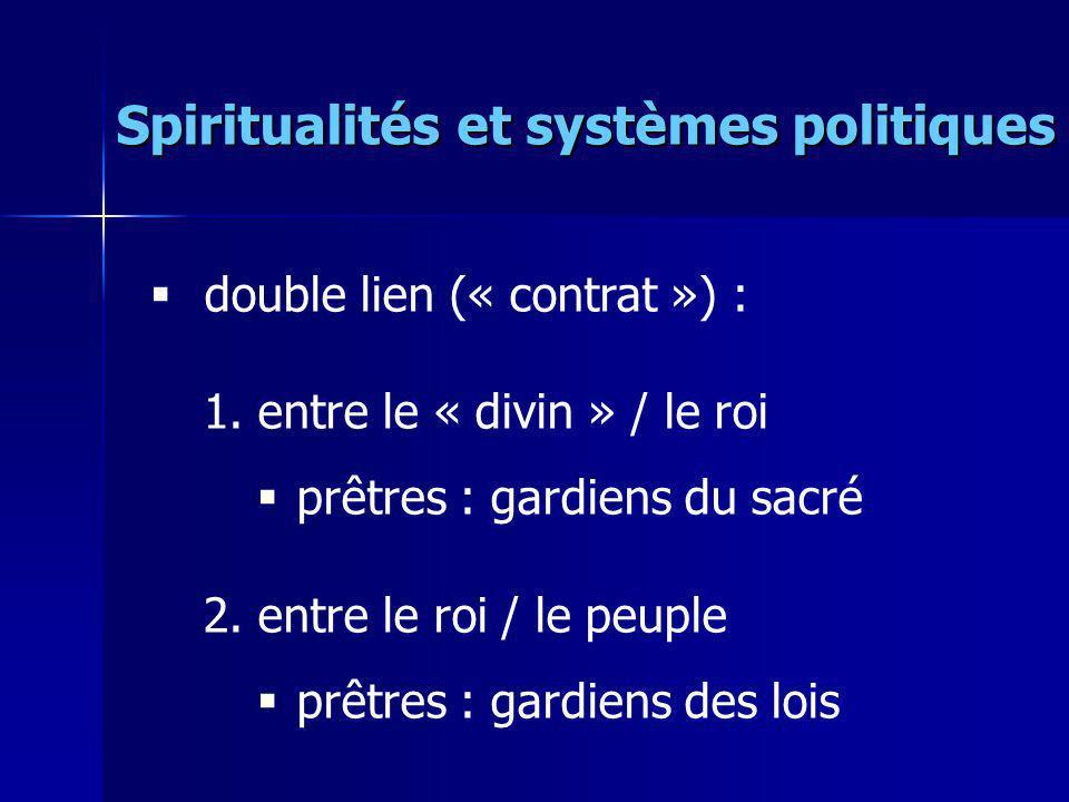 double lien (« contrat ») : 1.entre le « divin » / le roi prêtres : gardiens du sacré 2.