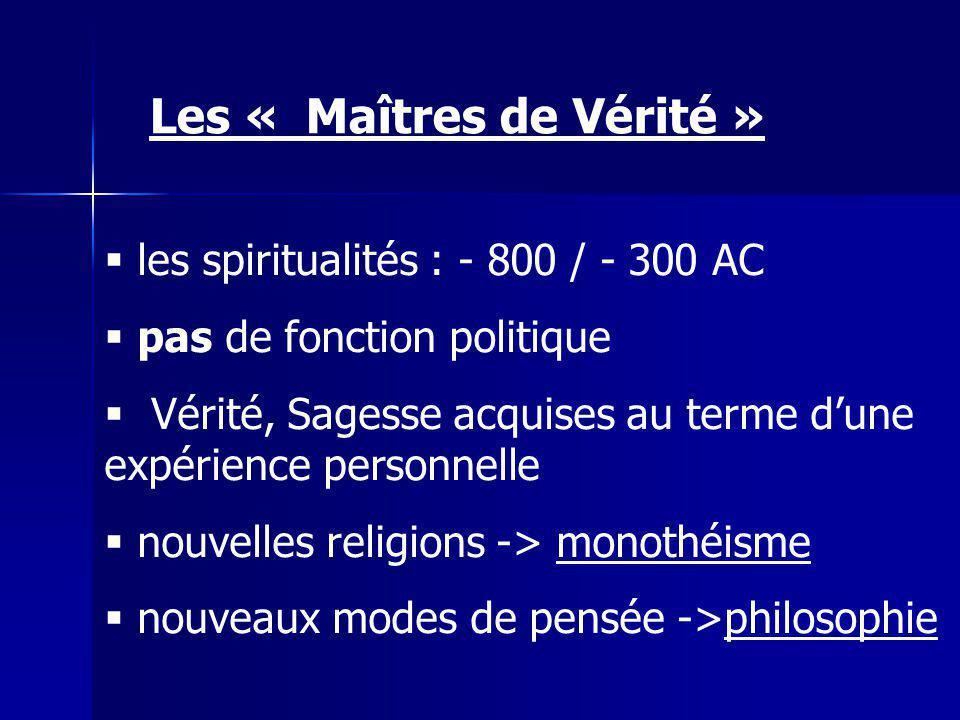 les spiritualités : - 800 / - 300 AC pas de fonction politique Vérité, Sagesse acquises au terme dune expérience personnelle nouvelles religions -> monothéisme nouveaux modes de pensée ->philosophie Les « Maîtres de Vérité »