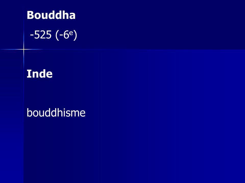 Bouddha -525 (-6 e ) Inde bouddhisme