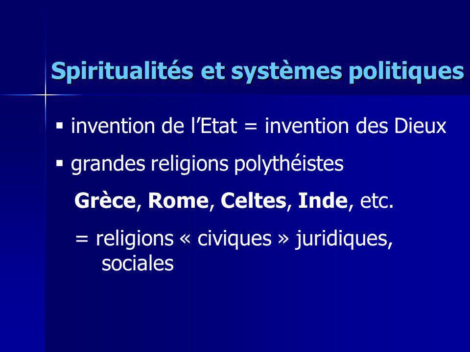Spiritualités et systèmes politiques invention de lEtat = invention des Dieux grandes religions polythéistes Grèce, Rome, Celtes, Inde, etc.