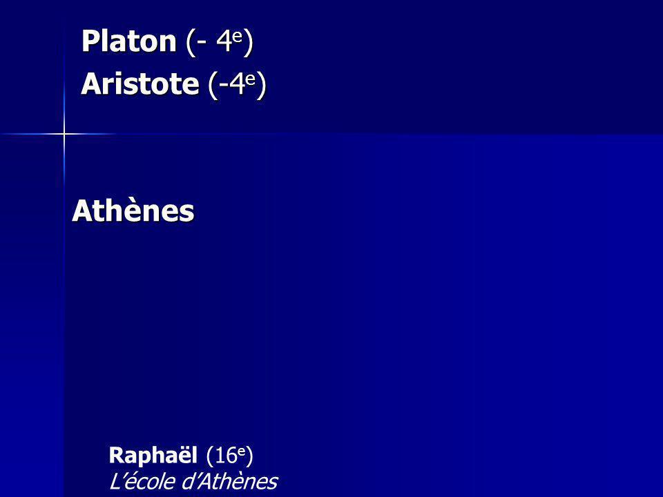 Platon (- 4 e ) Platon (- 4 e ) Aristote (-4 e ) Aristote (-4 e )Athènes Raphaël (16 e ) Lécole dAthènes