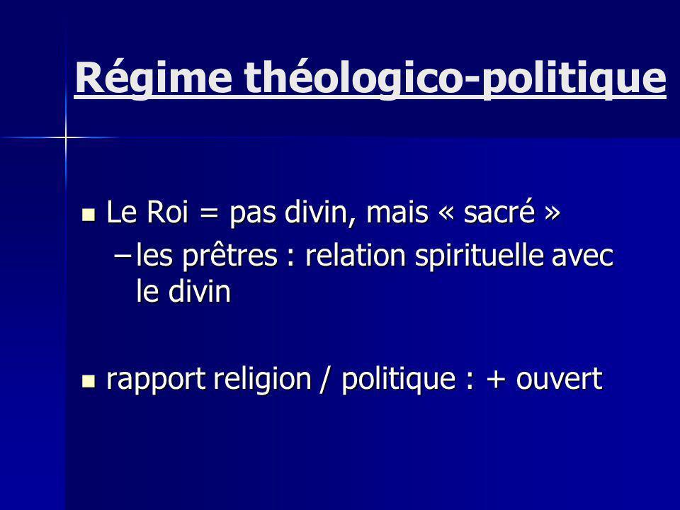 Le Roi = pas divin, mais « sacré » Le Roi = pas divin, mais « sacré » –les prêtres : relation spirituelle avec le divin rapport religion / politique : + ouvert rapport religion / politique : + ouvert Régime théologico-politique