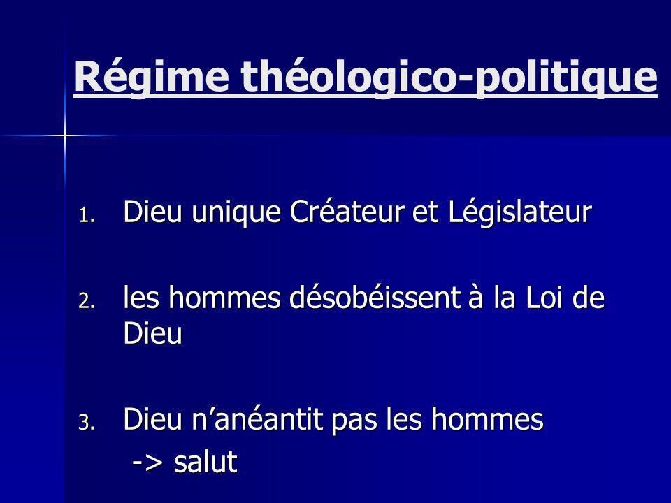 1.Dieu unique Créateur et Législateur 2. les hommes désobéissent à la Loi de Dieu 3.