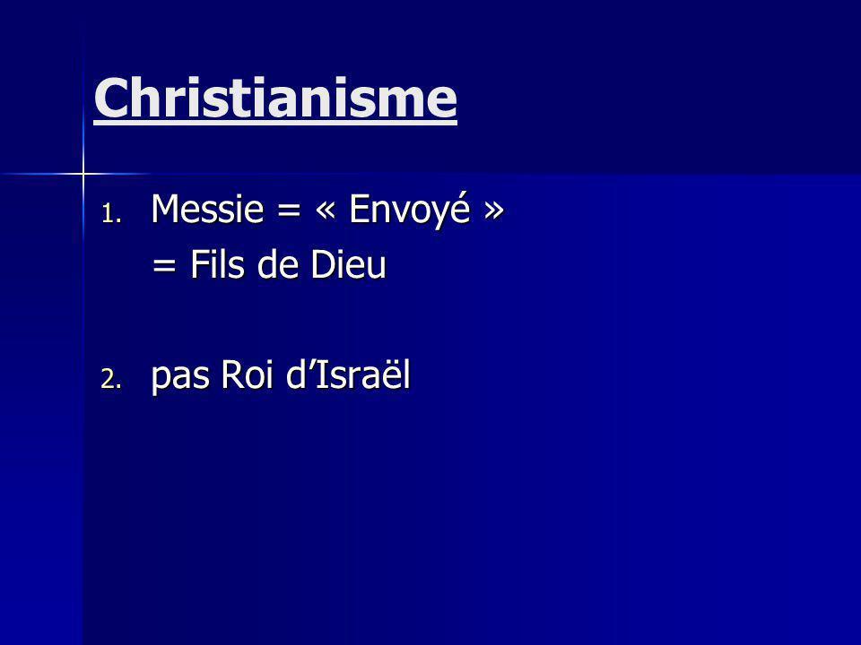 1. Messie = « Envoyé » = Fils de Dieu 2. pas Roi dIsraël Christianisme
