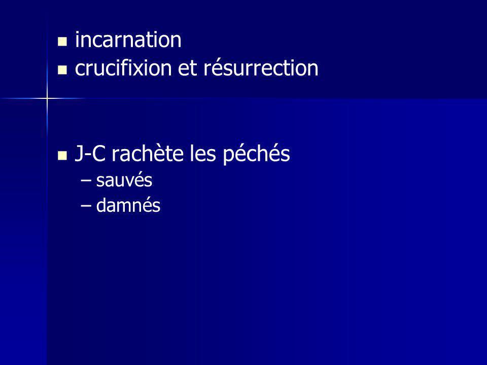 incarnation crucifixion et résurrection J-C rachète les péchés – –sauvés – –damnés
