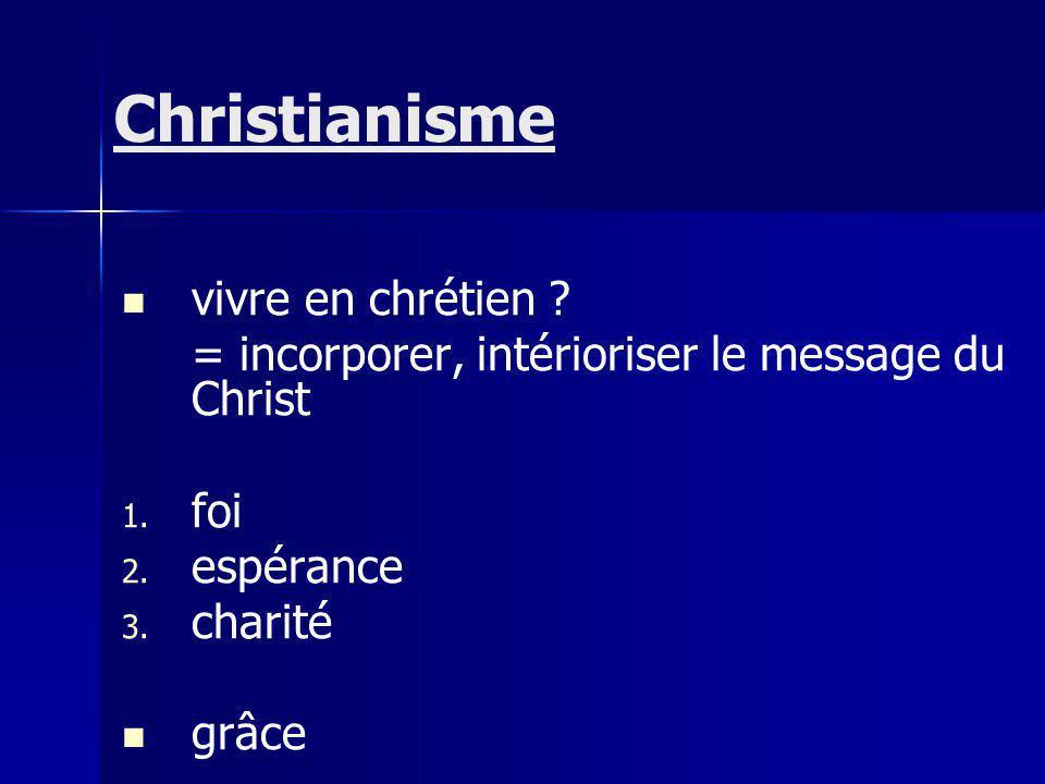 vivre en chrétien .= incorporer, intérioriser le message du Christ 1.