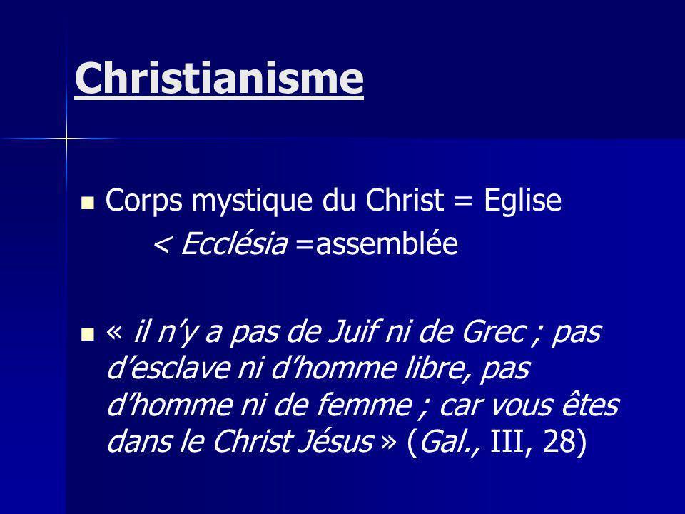 Corps mystique du Christ = Eglise < Ecclésia =assemblée « il ny a pas de Juif ni de Grec ; pas desclave ni dhomme libre, pas dhomme ni de femme ; car vous êtes dans le Christ Jésus » (Gal., III, 28) Christianisme