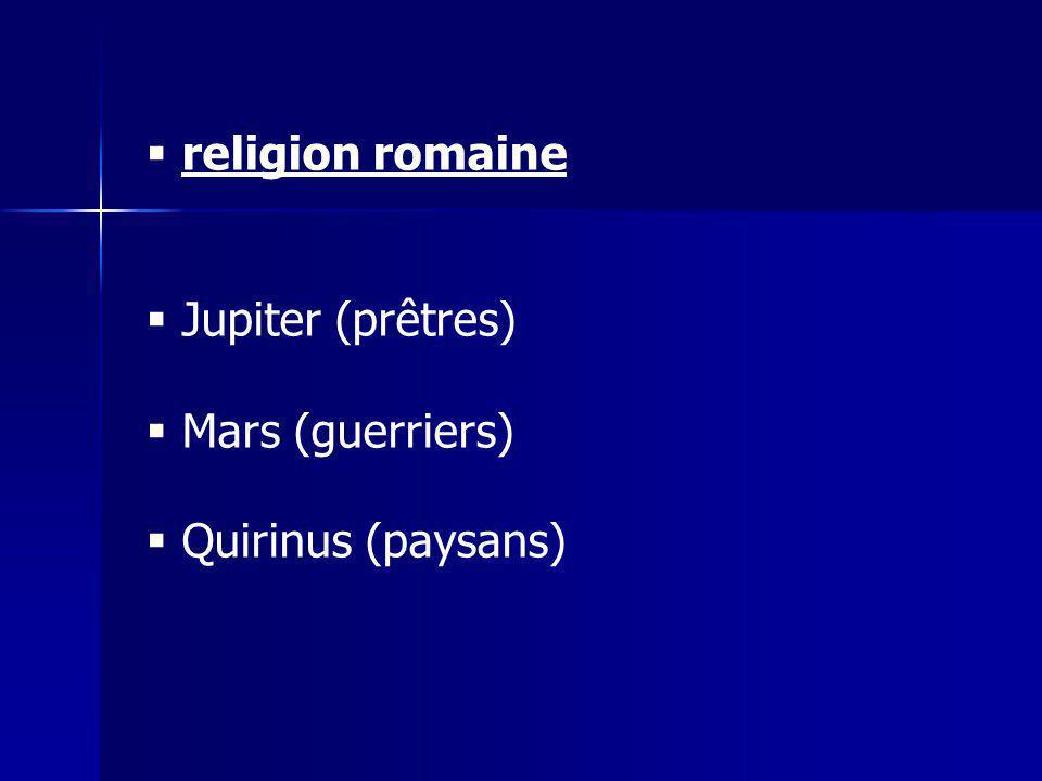 religion romaine Jupiter (prêtres) Mars (guerriers) Quirinus (paysans)