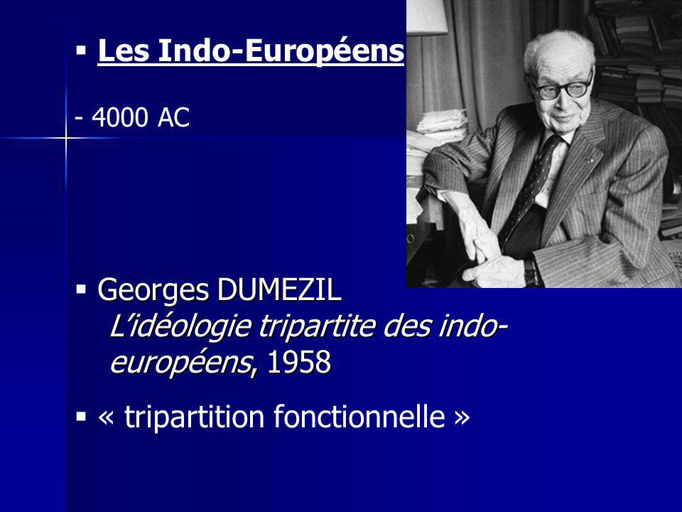 Les Indo-Européens - 4000 AC Georges DUMEZIL Lidéologie tripartite des indo- européens, 1958 « tripartition fonctionnelle »