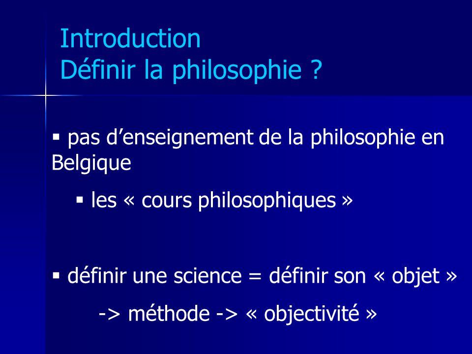 Introduction Définir la philosophie ? pas denseignement de la philosophie en Belgique les « cours philosophiques » définir une science = définir son «