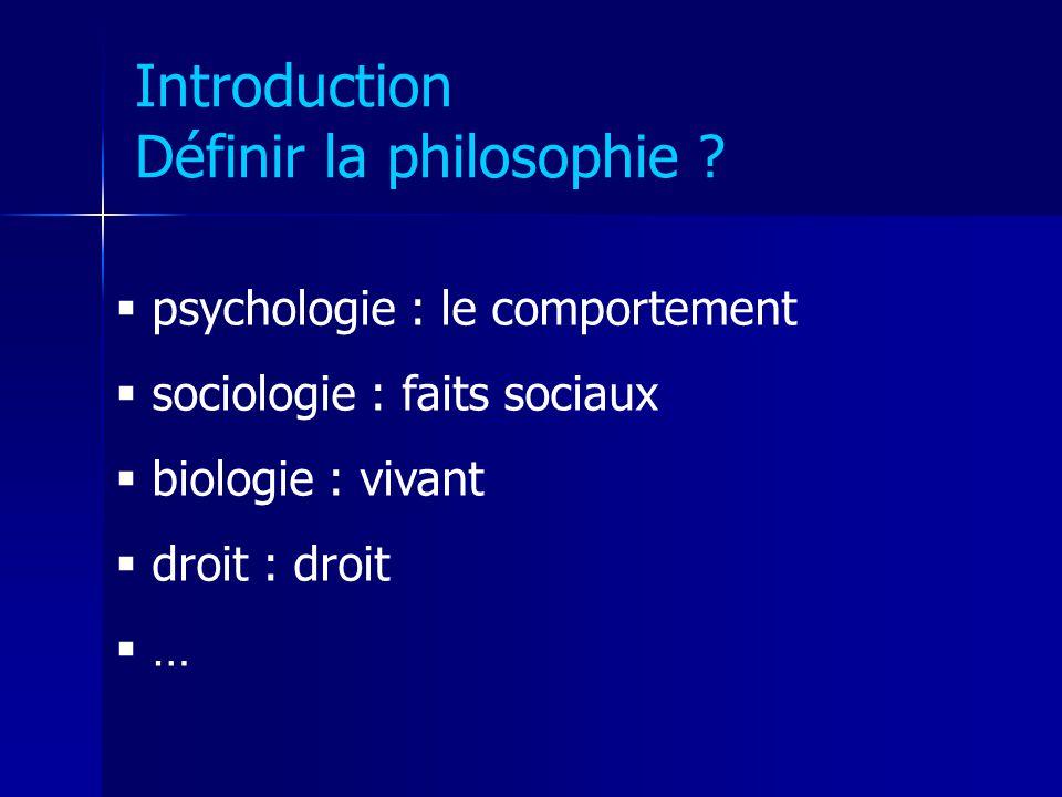 Introduction Définir la philosophie ? psychologie : le comportement sociologie : faits sociaux biologie : vivant droit : droit …