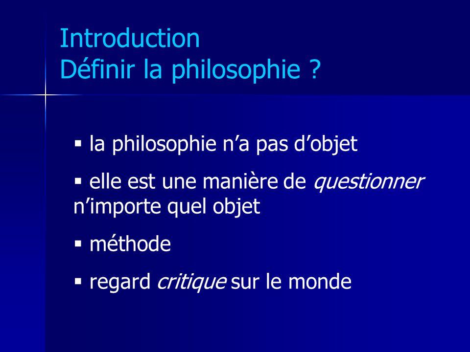 Introduction Définir la philosophie ? la philosophie na pas dobjet elle est une manière de questionner nimporte quel objet méthode regard critique sur