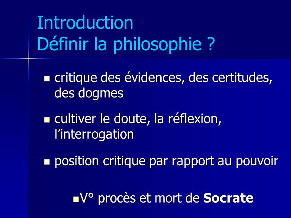 Introduction Définir la philosophie ? critique des évidences, des certitudes, des dogmes critique des évidences, des certitudes, des dogmes cultiver l