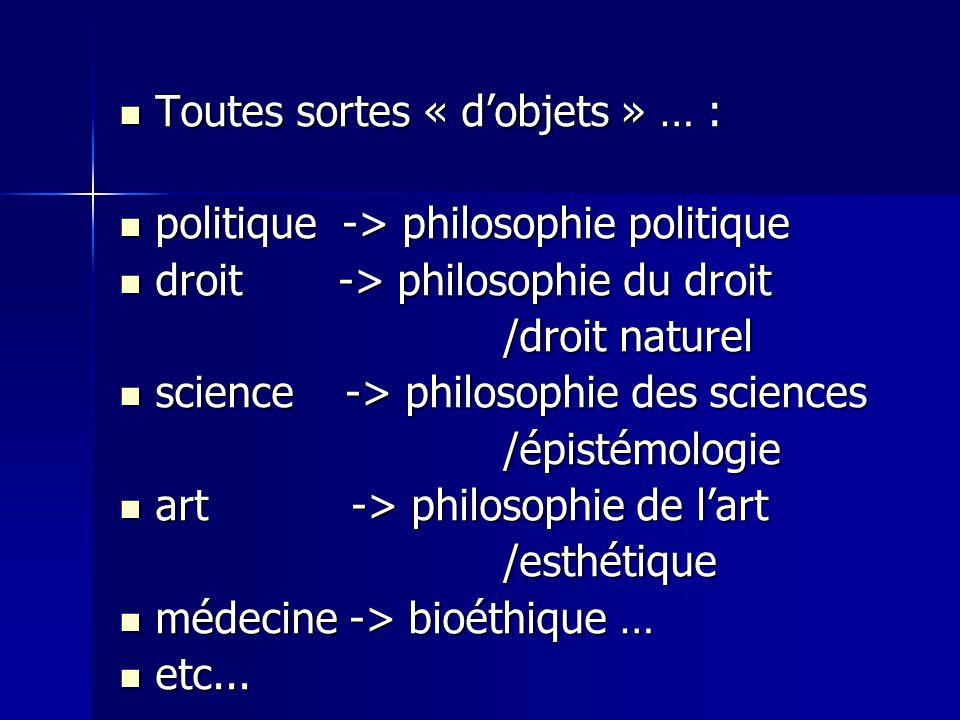 Toutes sortes « dobjets » … : Toutes sortes « dobjets » … : politique -> philosophie politique politique -> philosophie politique droit -> philosophie