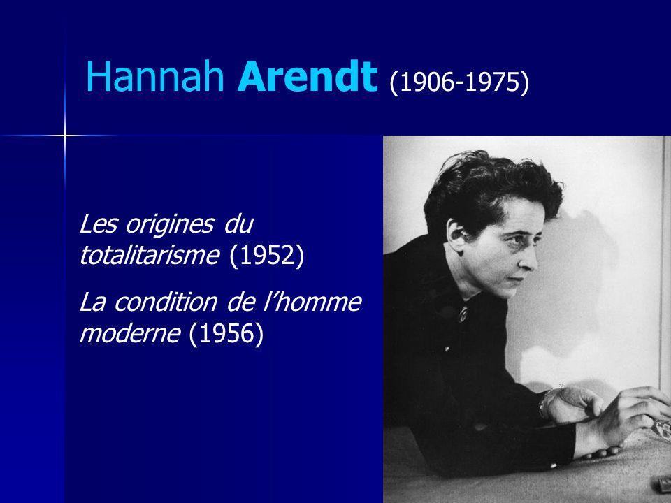 Hannah Arendt (1906-1975) Les origines du totalitarisme (1952) La condition de lhomme moderne (1956)