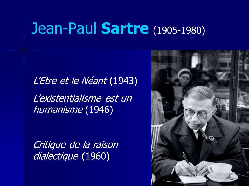 Jean-Paul Sartre (1905-1980) LEtre et le Néant (1943) Lexistentialisme est un humanisme (1946) Critique de la raison dialectique (1960)