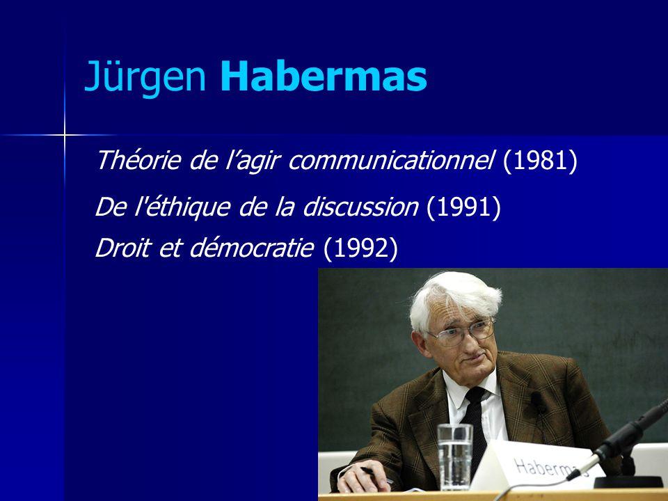 Jürgen Habermas Théorie de lagir communicationnel (1981) De l'éthique de la discussion (1991) Droit et démocratie (1992)